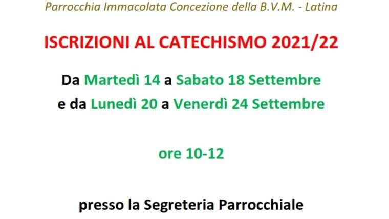Avviso – Iscrizioni al Catechismo 2021-2022