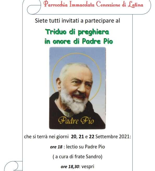 Avviso – Triduo di preghiera in onore di Padre Pio